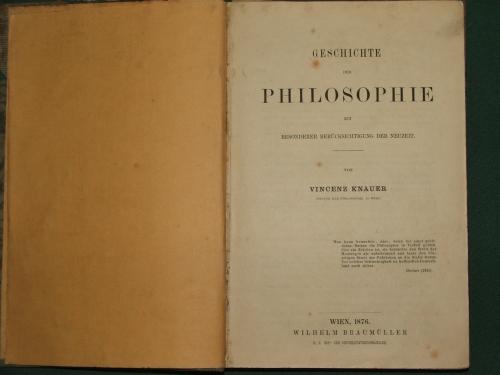 KNAUER, Vincenz: Geschichte der Philosophie …