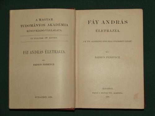 BADICS Ferenc: Fáy András életrajza