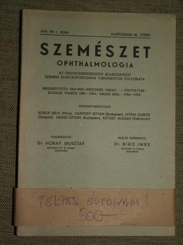 SZEMÉSZET – OPHTHALMOLOGIA 1949/1-4.sz.