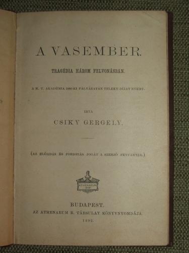 CSIKY Gergely: A vasember