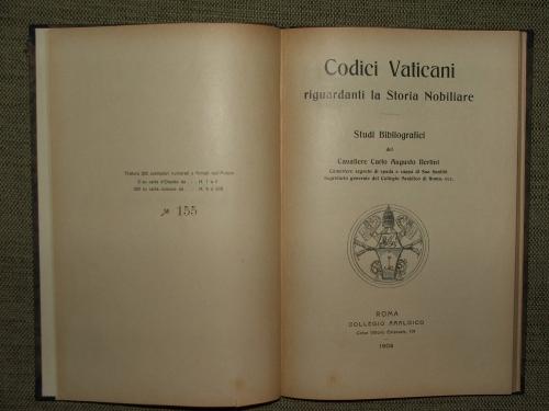 BERTINI, Carlo Augusto: Codici Vaticani riguardanti la Storia Nobiliare