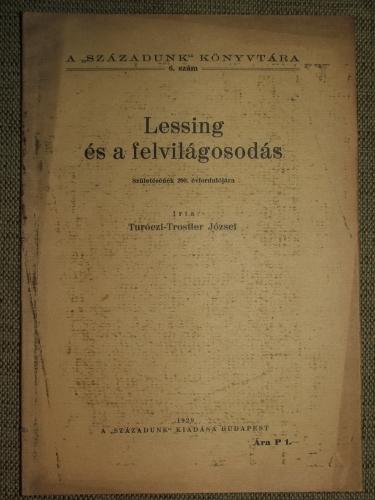 TURÓCZI-TROSTLER József: Lessing és a felvilágosodás