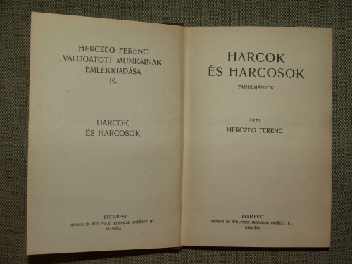 HERCZEG Ferenc: Harcok és harcosok Tanulmányok