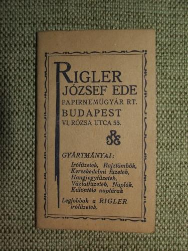 RIGLER József Ede: Papírneműgyár RT.