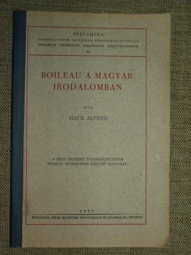 HACK Alfréd: Boileau a magyar irodalomban