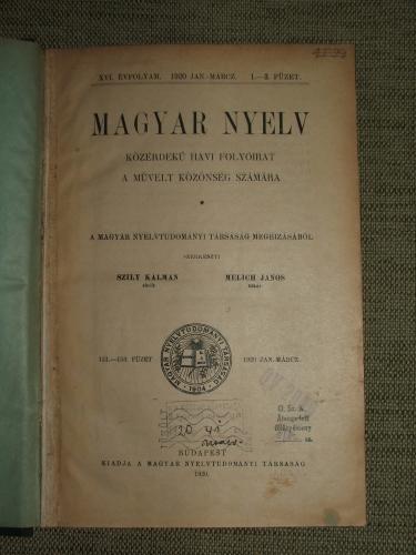MAGYAR NYELV XVI.-XVII. évfolyam