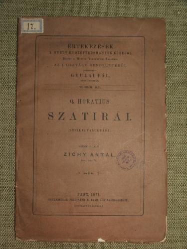 ZICHY Antal: Q.(intus) Horatius szatírái.