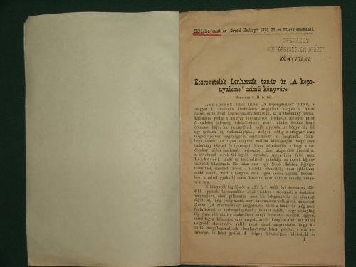 """SCHEIBER, S(ámuel) H.: Észrevételek Lenhossék tanár úr """"A koponyaisme"""" czímű könyvére"""