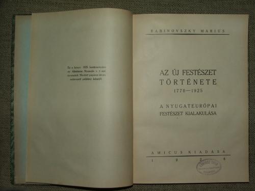 RABINOVSZKY Márius: Az új festészet története 1770-1925