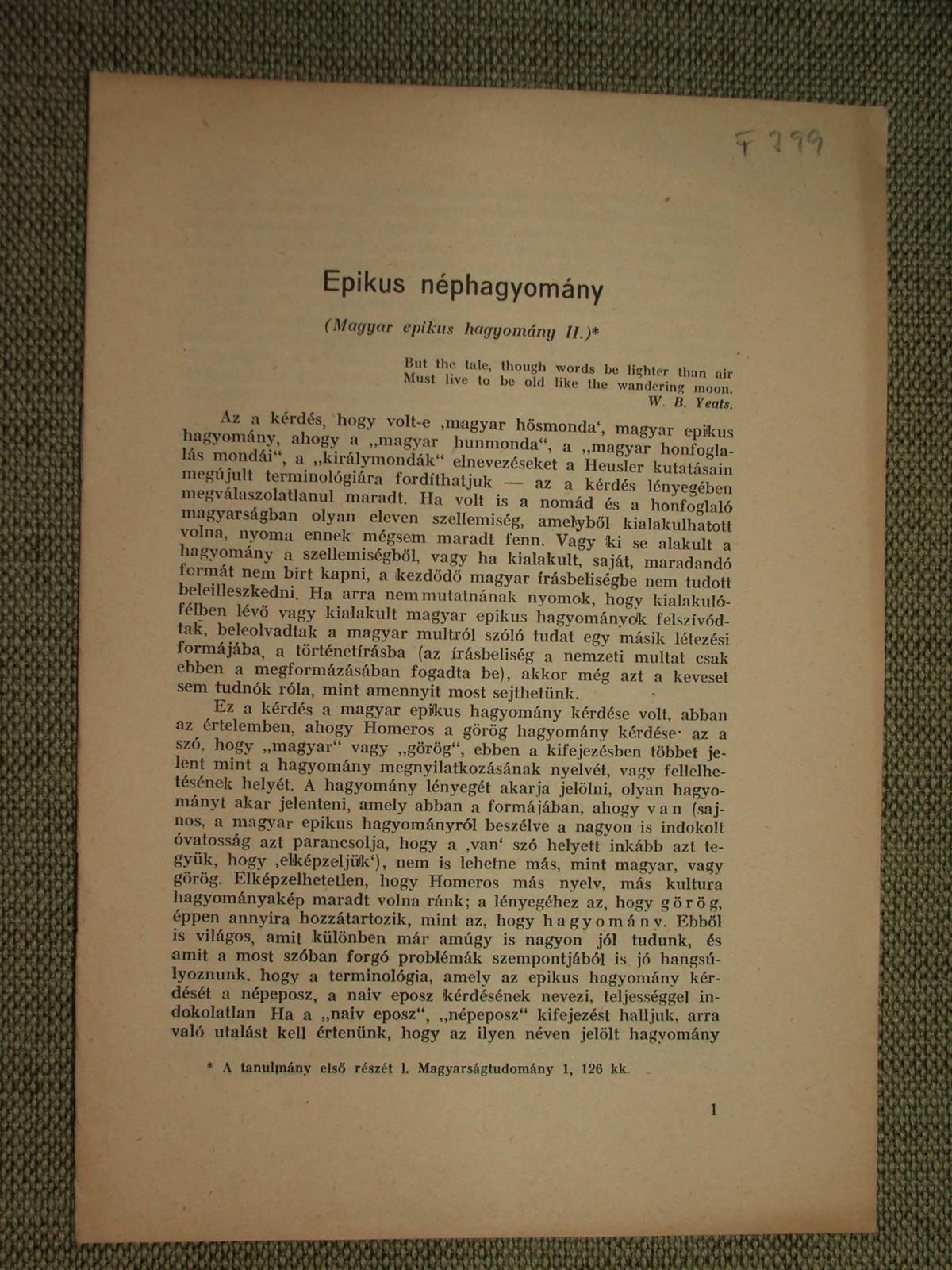 (HONTI János): Epikus néphagyomány