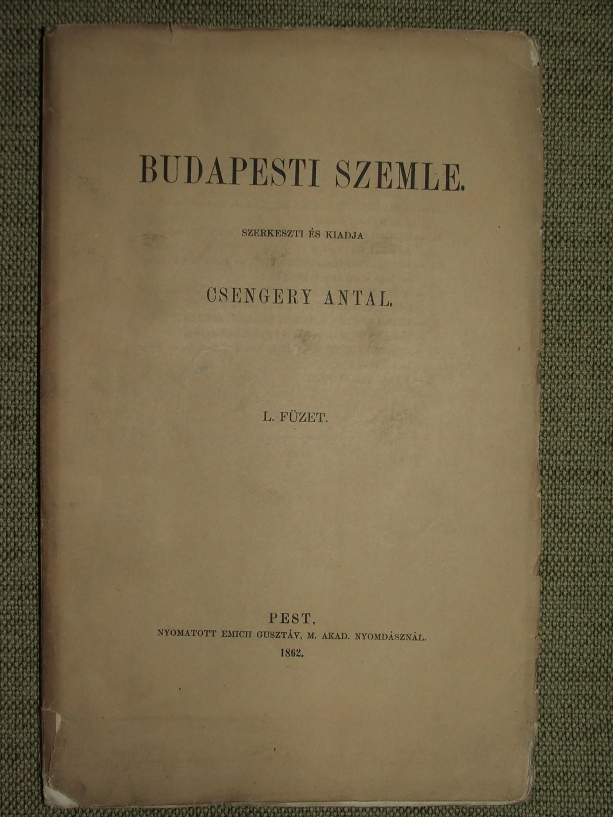 Budapesti Szemle  L. füzet