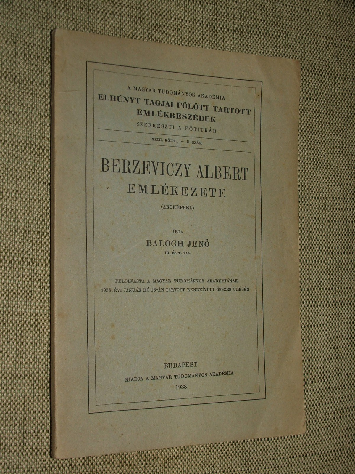 BALOGH Jenő: Berzevichy Albert emlékezete