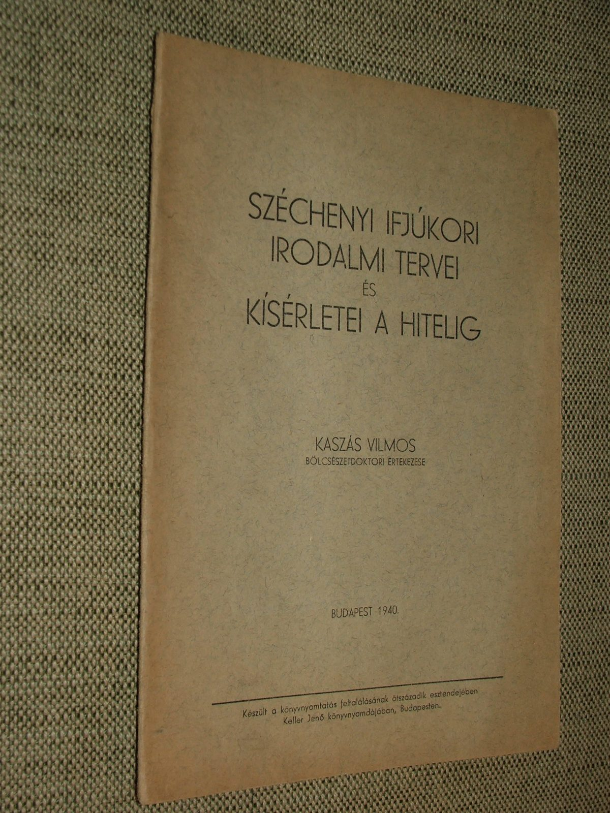KASZÁS Vilmos: Széchenyi ifjúkori irodalmi tervei és kísérletei a Hitelig