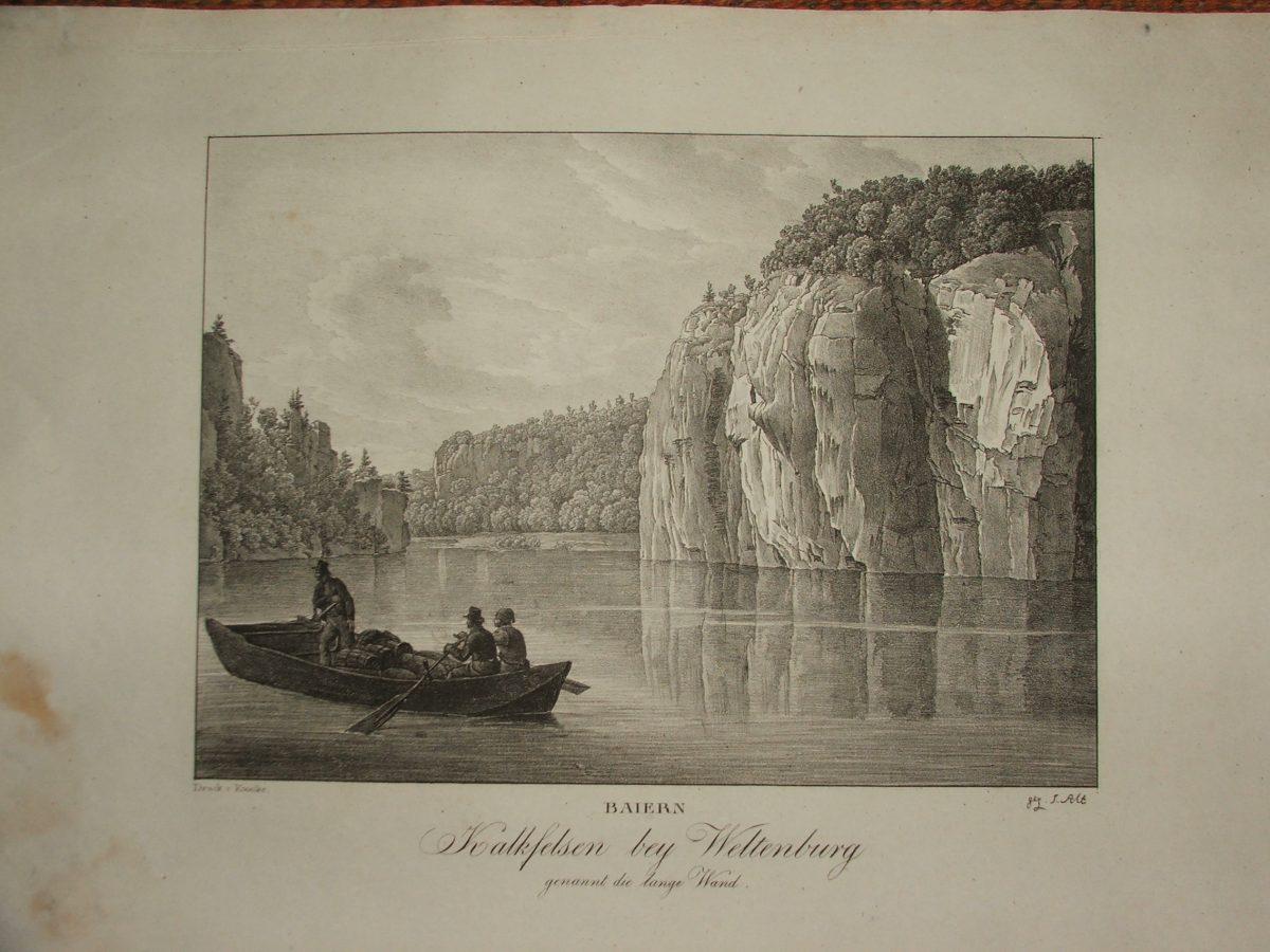 BAIERN: Kalkfelsen bey Weltenburg genannt die lange Wand