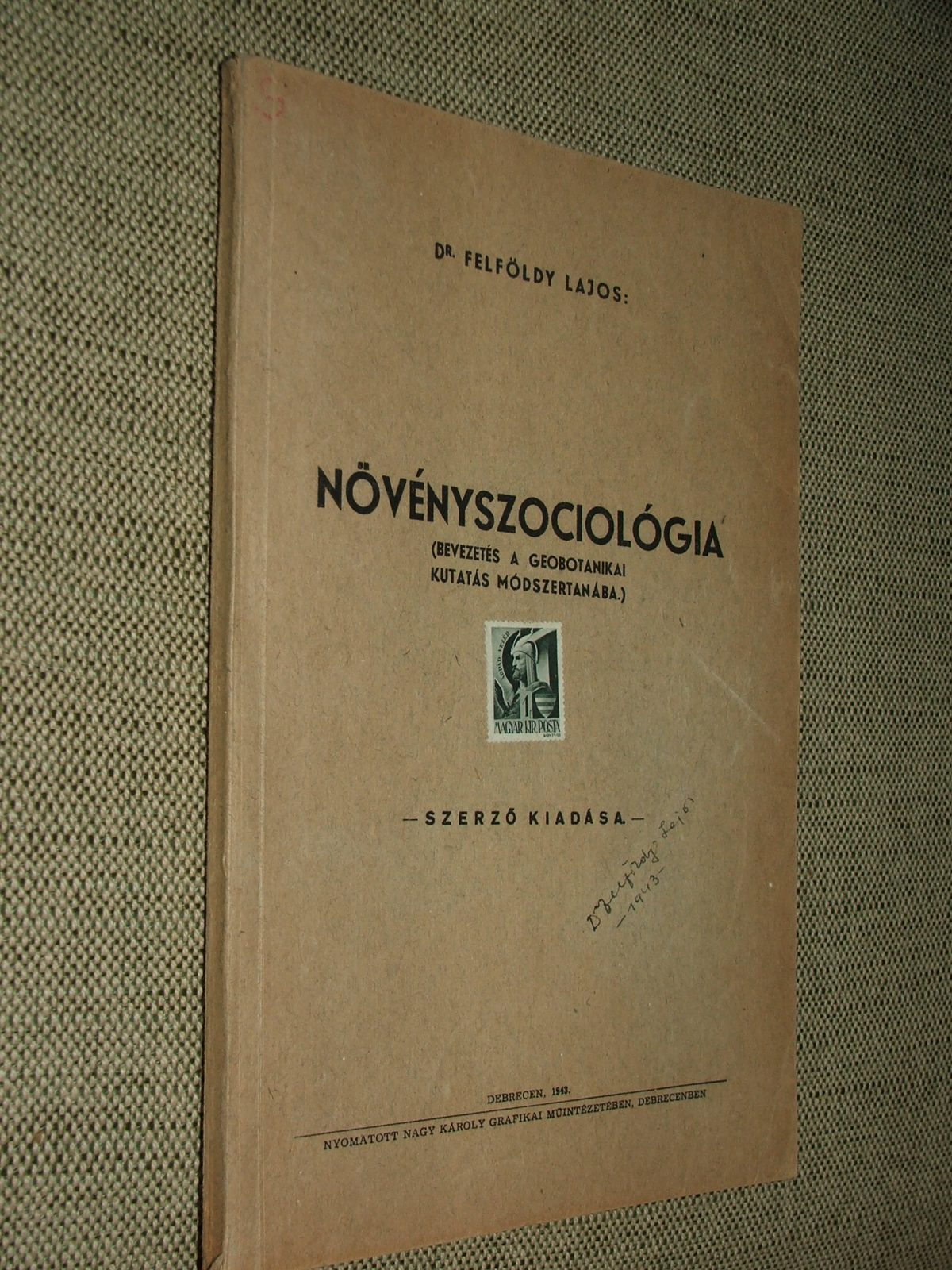FELFÖLDY Lajos: Növényszociológia