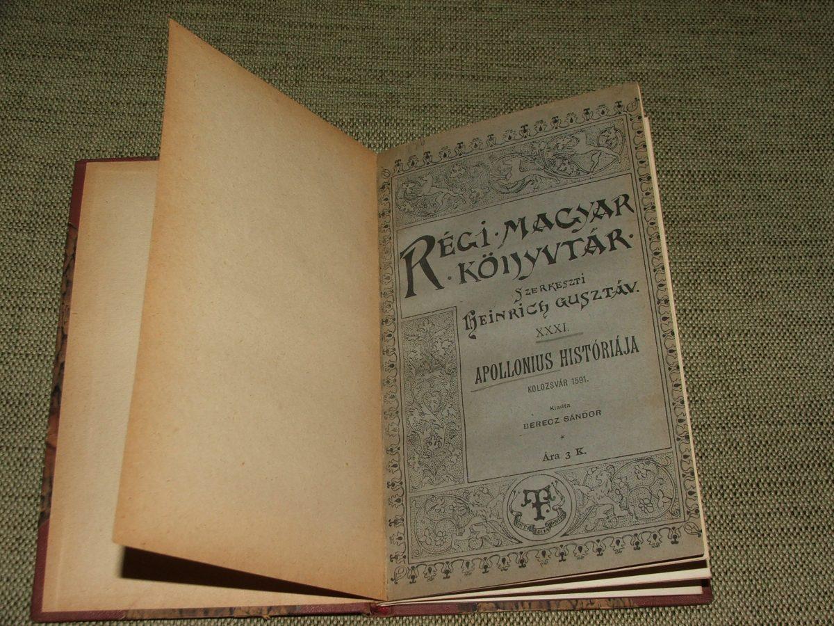 BERECZ Sándor: Apollonius históriája Kolozsvár 1591.